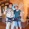 Alan and Kim show off their helmets, rigging, and thick leather gloves with which to brake.
