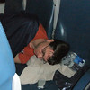 "Tim, our ""head med,"" rests en route."
