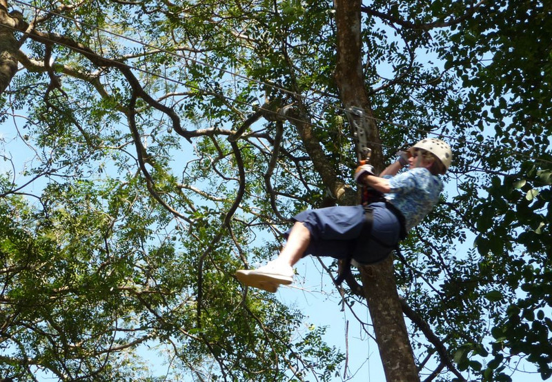 Jane braves a zip and likes it.  We all overcame our fear after the first couple of legs.