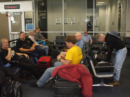 Several of us took advantage of our layover time in Houston to play a little Euchre.
