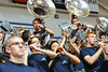 Members of the Citadel band cheer with less than a minute left in the game and the Citadel down by 2 points in the second half of an NCAA basketball game between Charleston Cougars and the Citadel bulldogs at McAlister Field House.