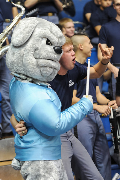 The Citadel Bulldog mascot prior to the NCAA basketball game between Charleston Cougars and the Citadel bulldogs at McAlister Field House.