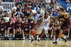 Citadel Bulldogs guard JANEIL JENKINS (3) dribbles past Charleston Cougars guard ANDREW LAWRENCE (4) in the first half of an NCAA basketball game between Charleston Cougars and the Citadel bulldogs at McAlister Field House.