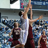 Citadel Bulldogs forward P.J. HORGAN (44) makes a shot in an NCAA basketball game between Elon Phoenix and the Citadel Bulldogs at McAlister Field House.  Elon defeated the Citadel 70-66.