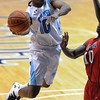 Citadel Bulldogs guard MARSHALL HARRIS III (10) goes up for a layup against Radford Highlanders guard R.J. PRICE (10) in an NCAA basketball game against the Radford Highlanders at McAlister Field House.