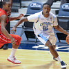 Citadel Bulldogs guard Ashton Moore (12) drives past Radford Highlanders guard Rashun Davis (5) in an NCAA basketball game against at McAlister Field House.