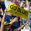 A Michigan Wolverine fan prior to the in the 2012 NCAA Outback Bowl between the South Carolina Gamecocks and the Michigan Wolverines at Raymond James Stadium.