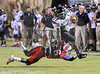 Fort Dorchester DB (26) Deonta Morris makes a TD saving tackle against Gator RB (21).