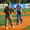 Shane Roper/MiLB<br /> <br /> 16 May 2014 - Lance Haymaker surprises his younger brother by returning early from his deployment during the first pitch of the Hickory Crawdads vs Charleston RiverDogs at Joe Riley Stadium in Charleston, South Carolina.  Riverdogs defeat the Crawdads 4-2.