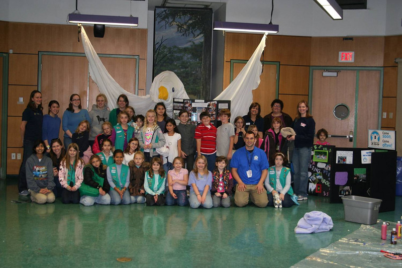 Roots & Shoots Day at the Roger Williams Park Zoo participants, including Rebecca the Giant Peace Dove!