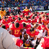Brother Michael Kramer of Calvert Hall leads the team in prayer prior to kickoff of the 93rd annual Turkey Bowl.