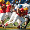 Calvert Hall junior Colar Kuhns (4) is sacked during the 4th quarter of the 93rd annual Turkey Bowl.