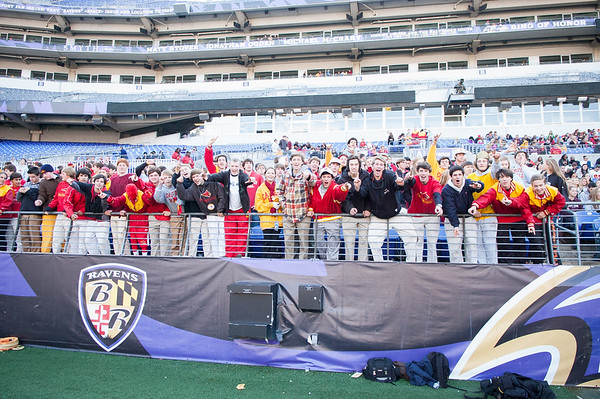 """The """"Red C,"""" Calvert Hall's student fan section, was full of energy for the 93rd annual Turkey Bowl."""