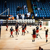 """Mercy High School warms up before the 46th annual """"The Game"""" between Mercy and IND."""