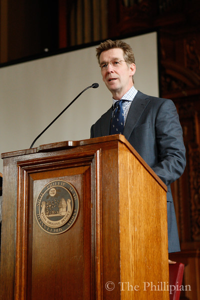 Peter Currie and Anthony K. Van Jones were featured speakers at All School Meeting on 4/27/11. (J. Qu)