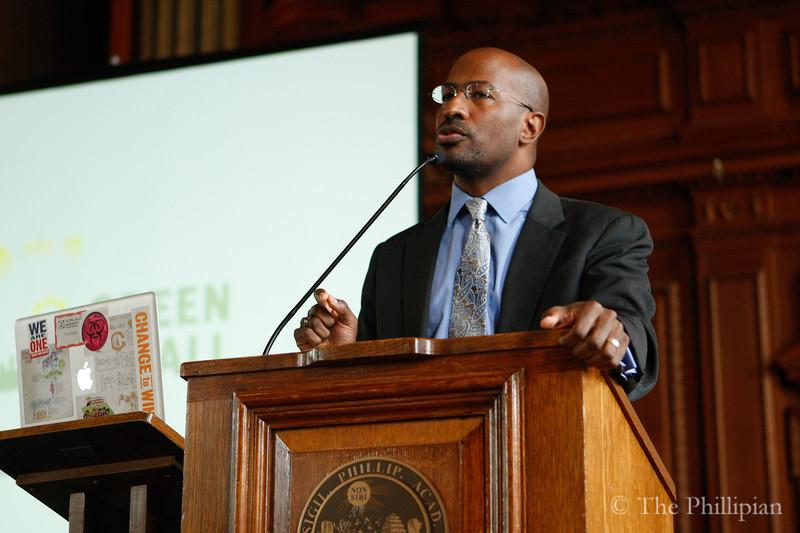Peter Currie and Anthony K. Van Jones were featured speakers at All School Meeting on 4/27/11. (J. Qu)