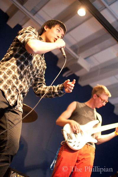 The Peasekeepers (Thomas Armstrong '11, Cal Brooks '11, Dominick Chang '11, Will Park '11, Jeb Roberts '11,  and Sky Yoo '11) perform in the Den on April 9, 2011. (J.Qu)
