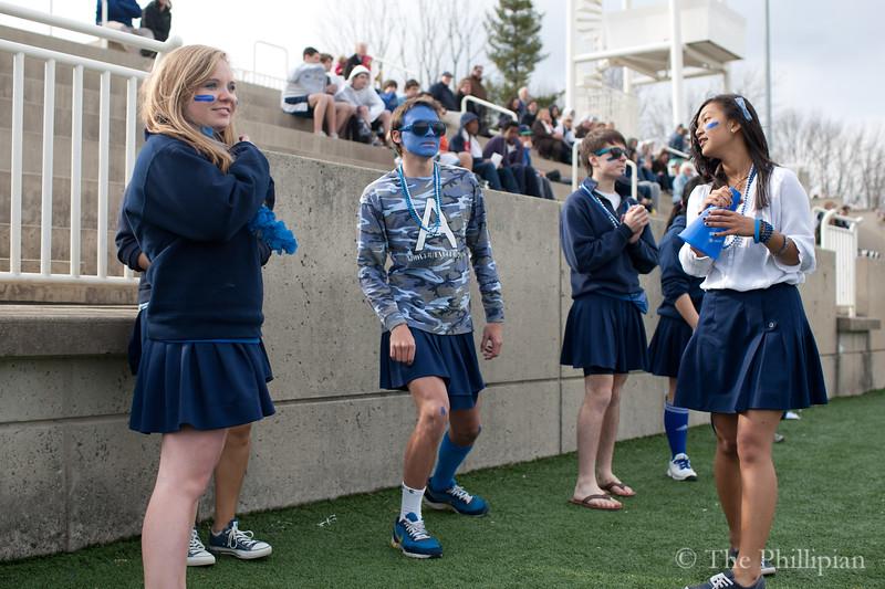 Blue Key Heads 2011-2012 (Katie McLean '12, Yuni Sumawijaya '12, Ray Thamthieng '12, Jordan Miller-Surratt '12, Kennedy Edmonds '12, Ben Romero '12, Ben Manuel '12, Gabbie Cirelli '12, missing: Nick Camarda '12, and David Russell '12) cheer together for the first time on 4/6/11. (J. Qu)