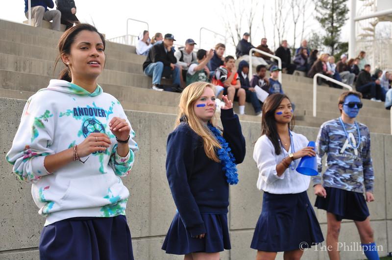 Blue Key Heads 2011-2012 (Katie McLean '12, Yuni Sumawijaya '12, Ray Thamthieng '12, Jordan Miller-Surratt '12, Kennedy Edmonds '12, Ben Romero '12, Ben Manuel '12, Gabbie Cirelli '12, missing: Nick Camarda '12, and David Russell '12) cheer together for the first time on 4/6/11. (M. Liu)