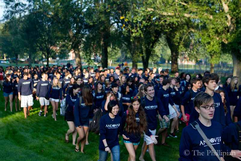 Seniors march down the vista before the first day of the 2011-2012 school year. (Jing Qu/The Phillipian)