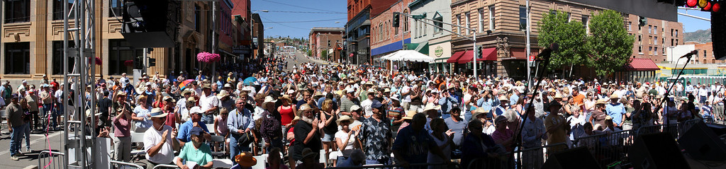 "Sunday afternoon crowd at Main & Broadway following ""Montana Music"" featuring members of the Gustafson family"