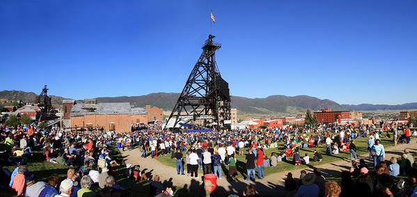 Friday's opening ceremony under the Original Mine headframe, uptown Butte, Montana