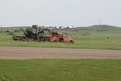 This great old wrecker, towing a Gleaner combine, drove past the motel as we were loading the car.