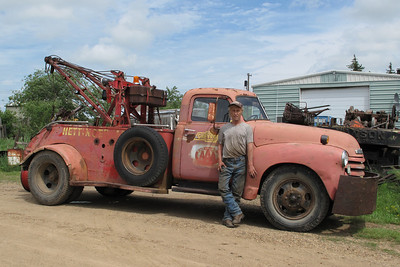 Jim Schley and his 1947 Chevy wrecker North Lemmon, N.D.