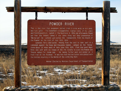 On frontage road near the mouth of Powder River, where it empties into the Yellowstone west of Terry   (A twin to this sign stands on the west side of Power River on Highway 12, between Plevna and Miles City.)
