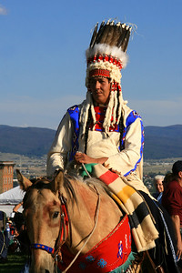 Danny Edwards, Blackfeet, riding a Spanish Mustang