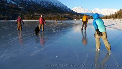 Lower Trail Lake ice skate. Moose Pass, AK.