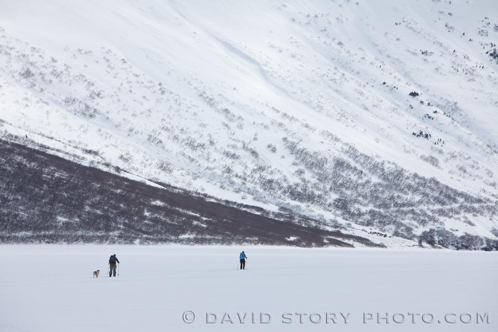 Sking back to Crescent Saddle. Moose Pass, AK.