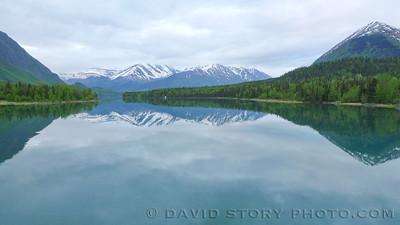 Calm Kenai Lake. Cooper Landing, AK.