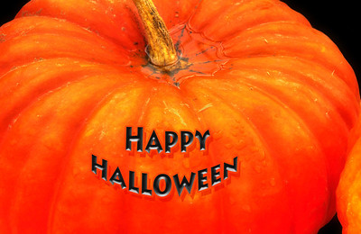 31 Oct 11.  Nothing fancy for today, just a simple pumpkin with a greeting. The pumpkin is an HDR composite of 5 shots, with a creative overlay to add some texture, while the stem and water at its base have been highly sharpened for attention. The text was played with just a bit to give it the impression of floating above the pumpkin. Other than those small adjustments, this was just a pumpkin sitting atop a box of other squashes in our neighborhood mom and pop food store. It sorta looked like it needed its picture taken while we were there a few days ago, and so here it is.  Happy Halloween.  ISO 200; 1/ 80 sec (middle of 5) @ f / 10, hand held.