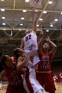 Breanna Gates Center for the T-Birds jumps up to grab a rebound in Monday nights game against Dixie state.