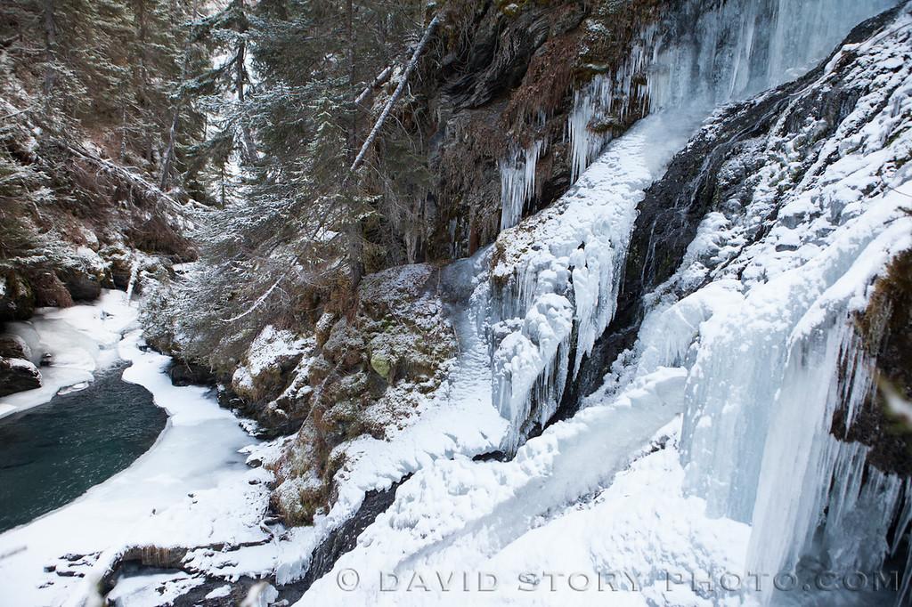 Icefalls flow into Falls Creek.
