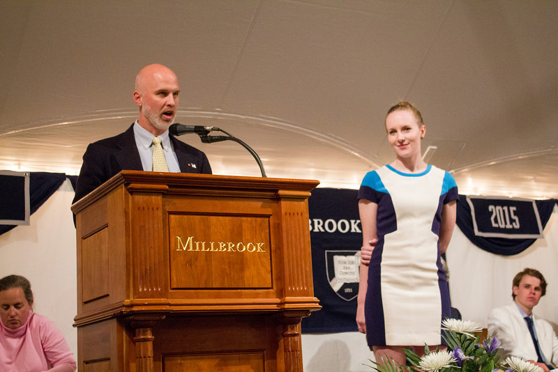 History Department Chair Mark Clizbe awards the Blaine History Essay Prize to Elli Case-Pethica '13.