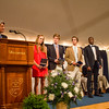 Headmaster Casertano awards the Headmaster's Merit Awards to Elizabeth Lowe '13, Sam Lawson-Johnston '13, Nick Morley '13, and Caleb King '13.