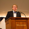 Duncan Harvey '14, incoming president of the Student Council, introduces faculty members.