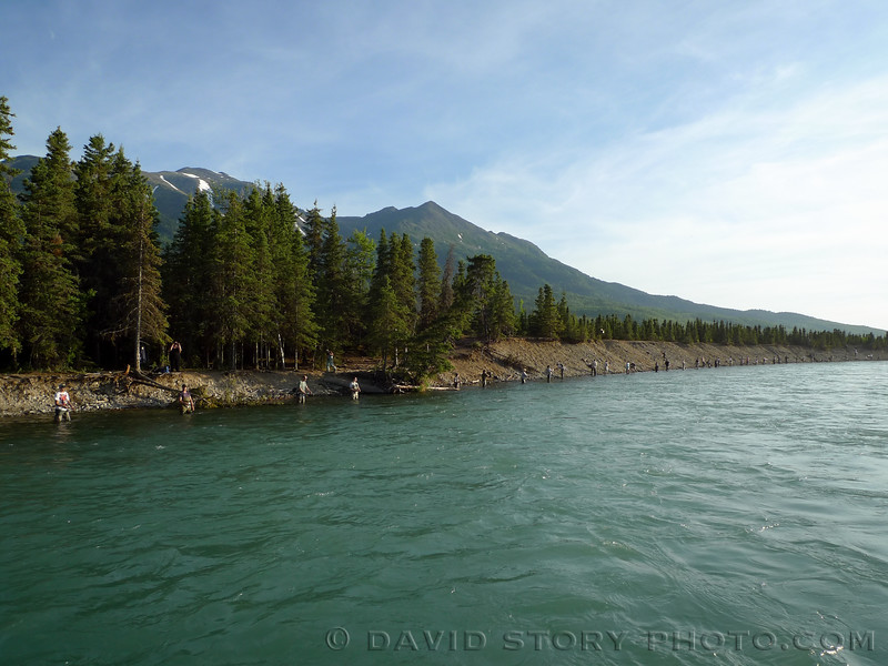 Combat fishing along the Kenai. Cooper Landing, AK.