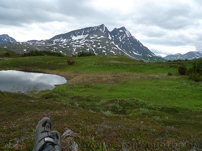 Taking a break on Lost Lake Trail. Seward, Alaska