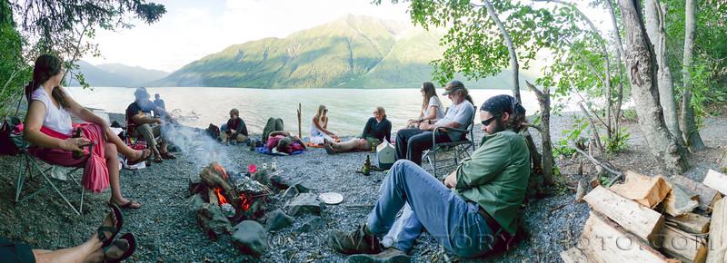 Grilling along Kenai Lake. Cooper Landing, AK
