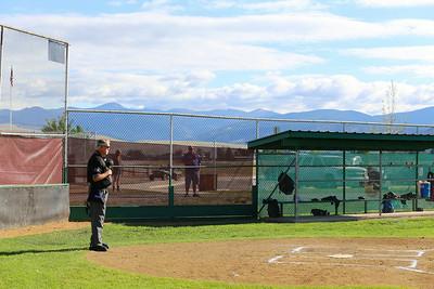 Oregon defeated Hawaii in Game 1 of the Western Region Senior Softball Tournament on July 25, 2014, in Missoula, MT. Umpiring were Dennis Cusick, Keith Evans and Scott Steinmetz.