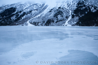 Frozen overflow. Grant Lake, Moose Pass, AK.