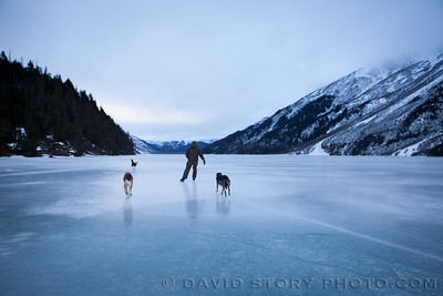 Skating with the dogs. Grant Lake, Moose Pass, AK.