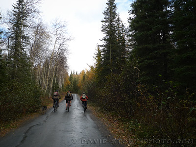Riding the Old Sterling Highway in Cooper Landing, AK.
