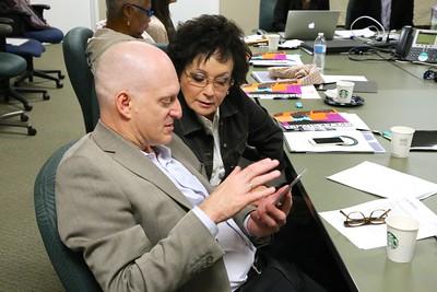 ESC Panel members Rob Rothblatt, design principal with AECOM, and arts advocate Marcy Friedman confer during a presentation.