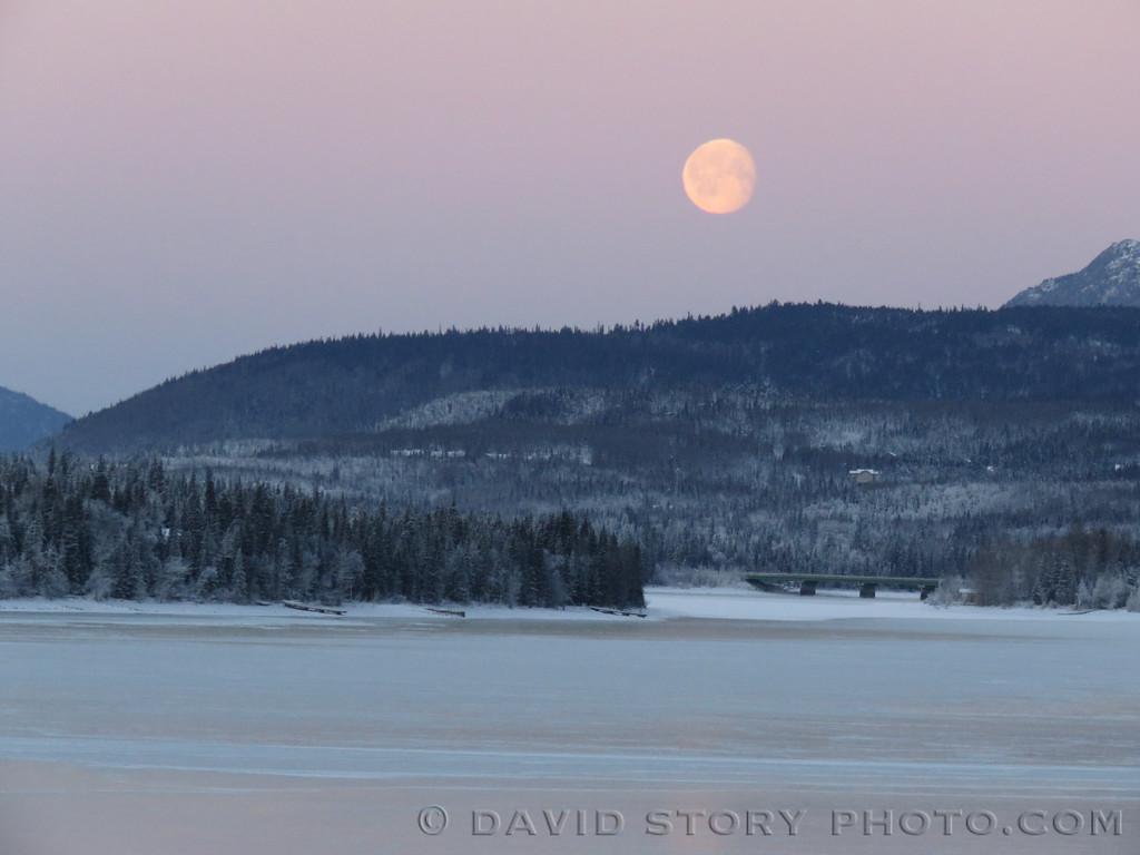Moonset over Cooper Landing, AK.