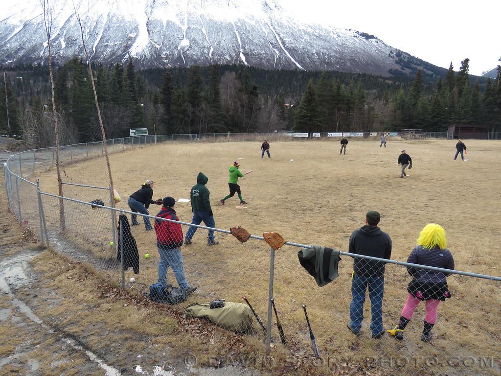Snowshoe softball minus the snow. Cooper Landing, AK