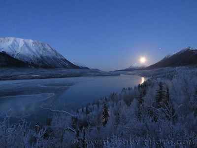 Moonset from Our Point of View. Cooper Landing, AK